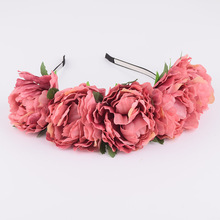 CXADDITIONS Big Fabric Peony Wildflower Headband Hair Headwrap Flower Crown Bridesmaid Floral Crown Rustic Photography Wedding(China)