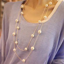 NK826 New 2017 Bijoux Cute Love Long Double Layers Chain Imitation Pearl Long Pendant Necklace for Women Jewelry Statement Gift