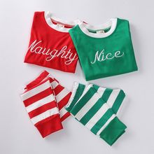 2017 Christmas Children Clothes Sets Cotton Letter Print Long Sleeves T-Shirt Kids Striped Pants Home Wear Sets M1(China)
