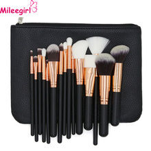 Mileegirl High Quality Makeup Brushes 15Pcs Professional Wood Foundation Powder Brush Set Soft Makeup Tool Kits With Leather Bag