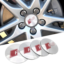 4pcs 56.5mm RS wheel sticker center hub cap cover emblem car styling for Audi 3 A4 A5 A6 A7 A8 S3 S4 S5 S6 S7 Car Sticker(China)