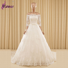 Ball Gown Long Three Quarter Wedding Dress 2016  Boat Neck Lace Bridal Gowns Ivory White Bride Dresses