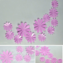 Low price for sale, 12 pieces / batch PVC 3D flower wall stickers home decoration pink flower(China)