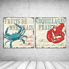 "2pcs Oil painting about ""Crabs and lobsters"" print on canvas wall art craft home decor wall pictures for living room RZ-UFO09(China)"