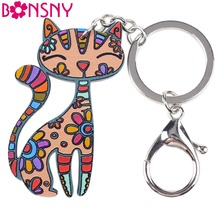 Bonsny Acrylic Animal Jewelry Cat Pets Key Chain Key Ring Pom Gift For Women Girl Bag Charm Keychain Pendant Jewelry 2017 News