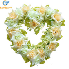 LumiParty Heart Shaped Artificial Flower Decoration Hanging Wreaths Flowers Garland with Silk Ribbon for Wedding Decoration