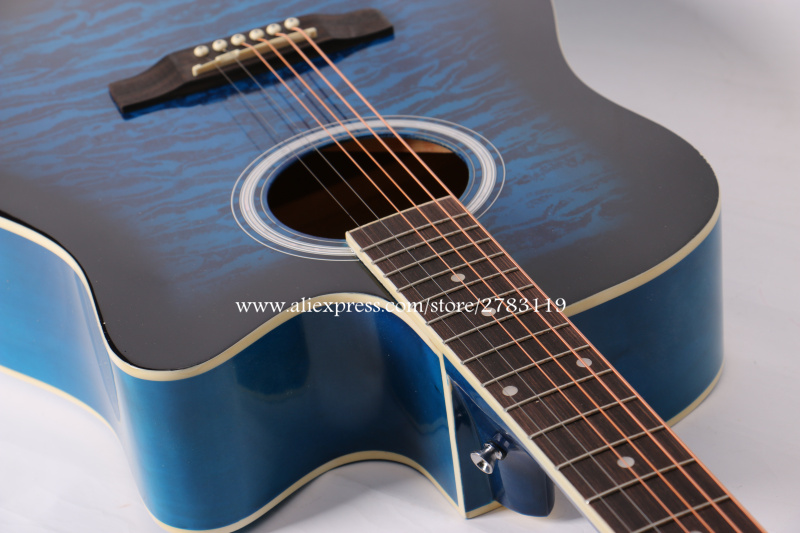 "41"" Acoustic Guitar,Good quality guitarra eletrica With LCD Pickup, guitars china With Hard case,Blue(China (Mainland))"