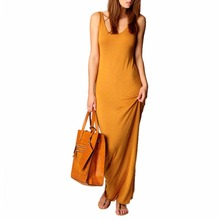 Summer Fashion Sexy Women Sleeveless Dress Fashion Solid Color Party Beach Solid Color Long Dress 2017 New Style Women's gown