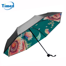 High Quality Women's Umbrella Three-folding Non-automatic Umbrella SunFlower Pattern Rainproof Suncreen Umbrellas(China)