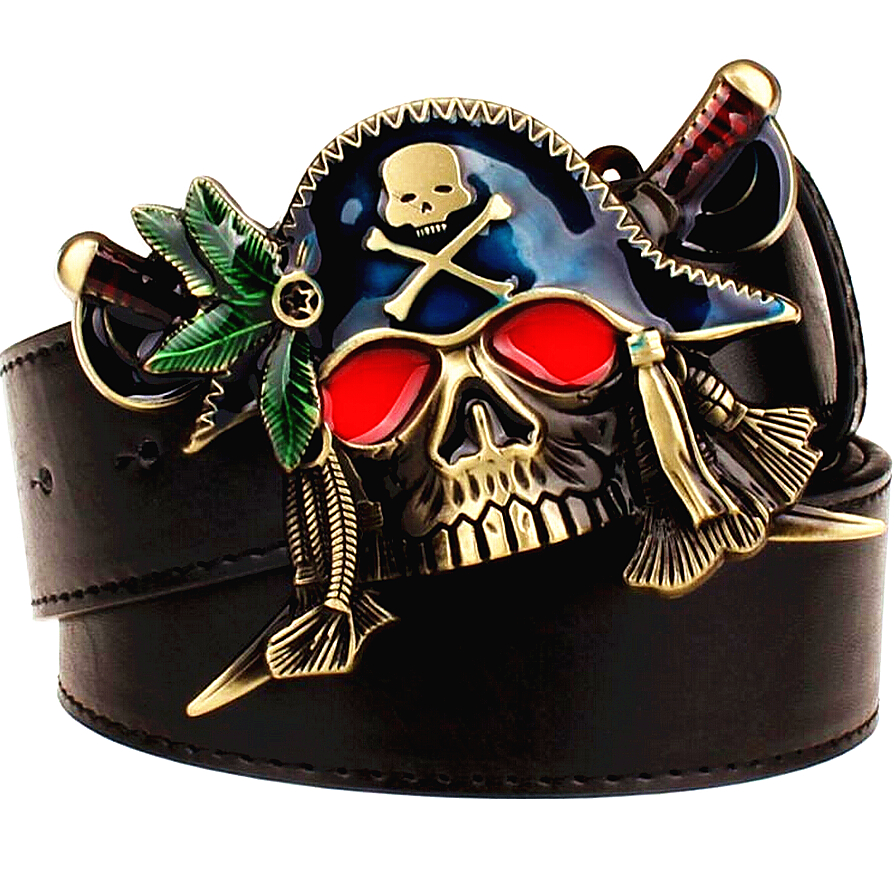 Fashion New men's leather belt metal buckle colored pirate knife belts punk rock exaggerated skull pirate belt hip hop girdle(China)