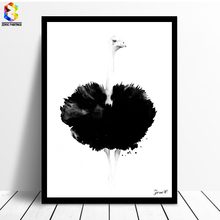 ZeroC Cuadros Posters And Prints Black Ostrich Wall Art Canvas Painting Pictures For Living Room Nordic Girl Home Decoration(China)