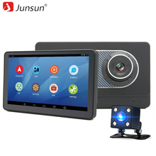 "New 7"" Junsun Car GPS Navigation Android 4.4 WIFI DVR with two Cameras HD 1024*600 truck gps navigator Navitel/Europe free map"
