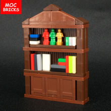 Set Sale MOC Bricks DIY Family Toys Furniture, Bookcase BookShelf Cabinet Educational Building Blocks Kids Gift(China)