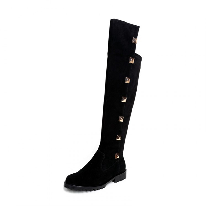 Fashion Black Over the Knee Boots With Rivets European Style Suede Stitching Elastic Cloth Women Jackboot Shoes Comfortable<br><br>Aliexpress