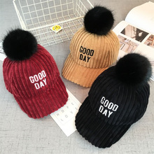 Children's Winter Warm Baseball Cap Baby Ball Embroidery Corduroy Shade Baby Kids Winter Hats 2-7Year Wholesale Drop Shipping(China)
