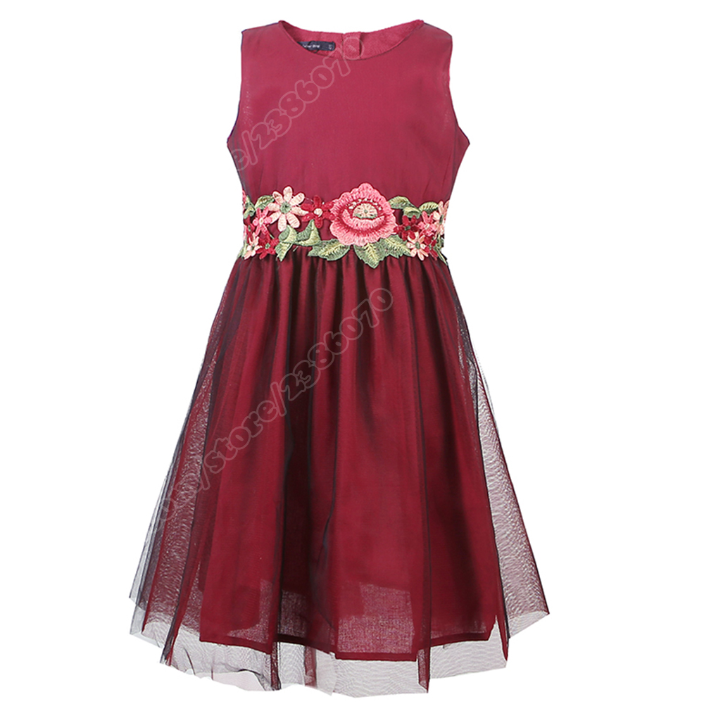 Kids Dresses For Girls 2016 Summer Style Sleeveless Rose Embroidery Princess Party Dress Baby Kids Clothes  3-10Y<br><br>Aliexpress