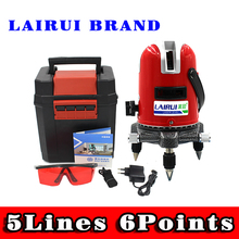 LAIRUI 5 Lines 6 Points Laser Level 360 Vertical & Horizontal Rotary Cross Laser Line Leveling outdoor mode& Tilt Slash Function(China)