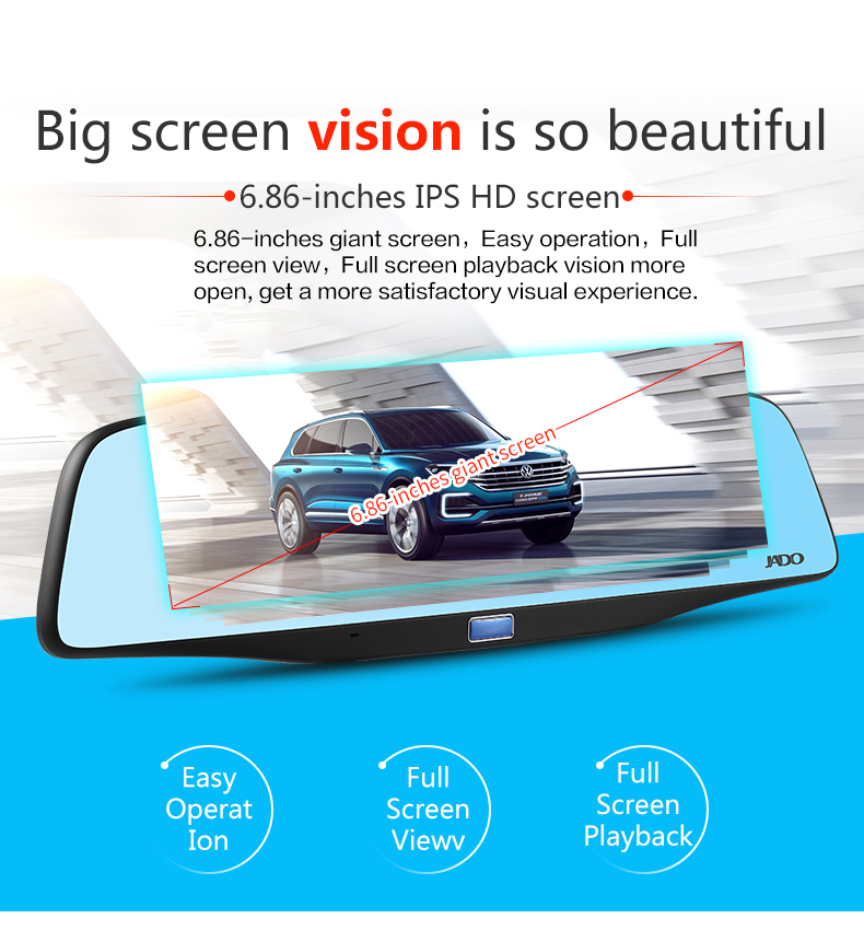 JADO D680S Car Dvr Camera Full HD 1080P Car Dvrs Dual Lens Recorder 6.86' Car Camera Dash cam ADAS Rearview Mirror Registrar 2