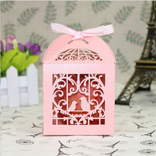 50pcs Wedding Invitations BOX Mariage Laser Cut Bird Wedding Favors Candy Boxes Sweet Box Baby Shower Gifts Wedding Decorations(China)