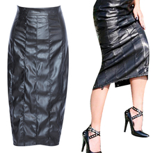 Buy PU Leather Skirt Sexy Women Slim High Waist Straight Black PVC Skirt Vinyl Latex Skirts Bondage Clubwear Clothes