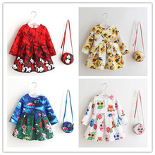 Cute Girl Dresses + Bag 2017 New Flowers Dress Fashion Baby Girl Party Dresses Childrens Belle Clothes Kids Clothing 15 colors
