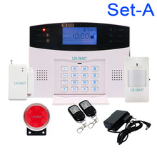 Voice Prompt Wireless GSM Security System GSM Home Alarm Systems LCD Screen Smoke Alarm Kit(China)