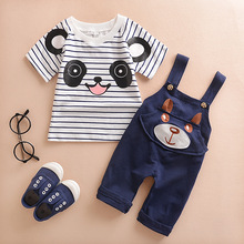 2016 fashion style summer childern clothing sets baby boys girls panda cartoon cute clothes sets kids set 2pcs outfits suit