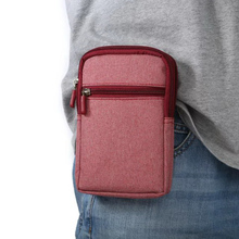 Hiking Sports Multi-Pockets Cellphone Pouch Canvas Nylon Waist Bag Pack Universal within 6.3'' Mobile Phone Waist Pouch