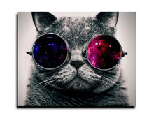 2015 new Giclee art prints canvas painting wall art picture printed oil painting on canvas swimming Cat with Eye Glasses.