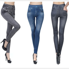 CHRLEISURE Big Size S-2XL Woman Jean Leggings Blue Black 2 Real Pockets Mid Waist Slim Europe Fold Stretch Legging Women