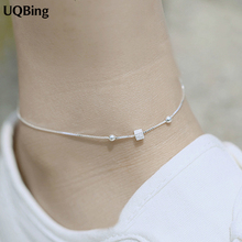 Free Shipping New Arrival 925 Sterling Silver Anklets Geometric Squares Anklets For Women Jewelry Girl Gift
