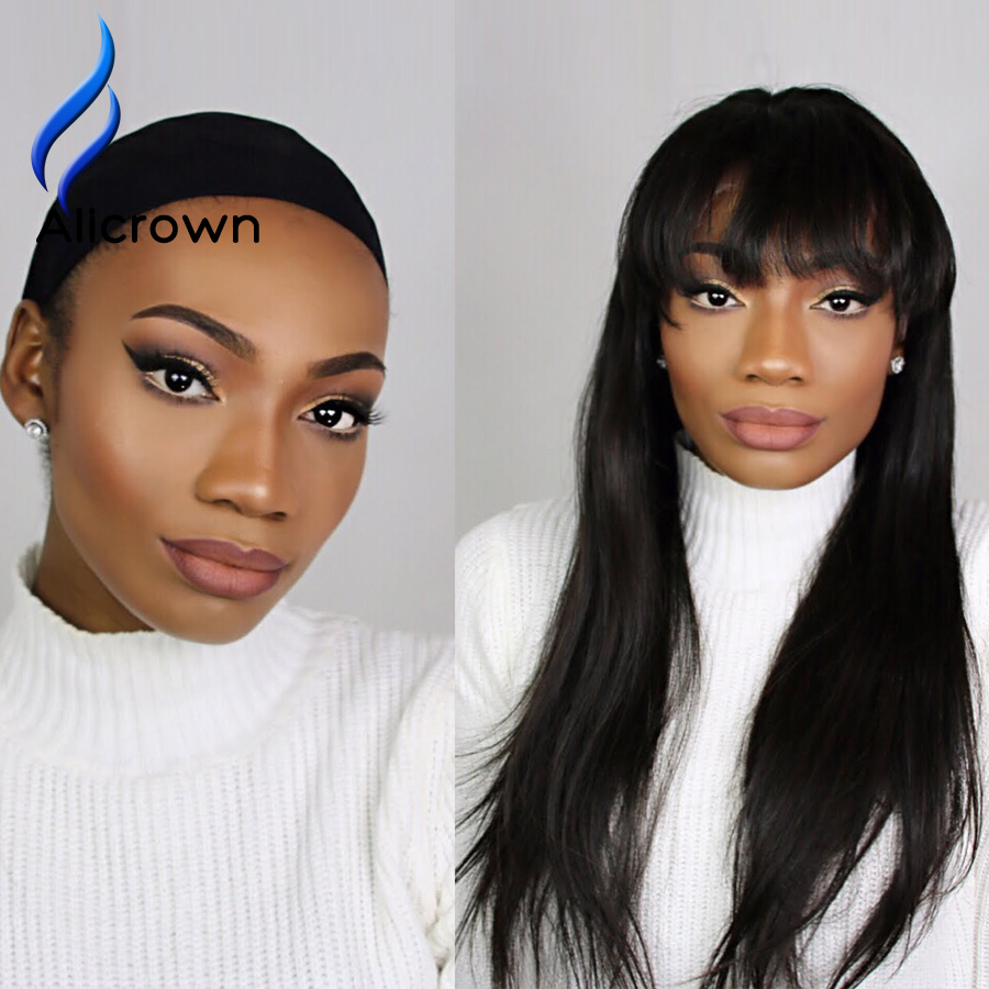 Alicrown Human Hair Lace Front Wigs With Bangs Silky Straight Glueless Full Lace Wigs With Baby Hair Peruvian Lace Front Wigs<br><br>Aliexpress