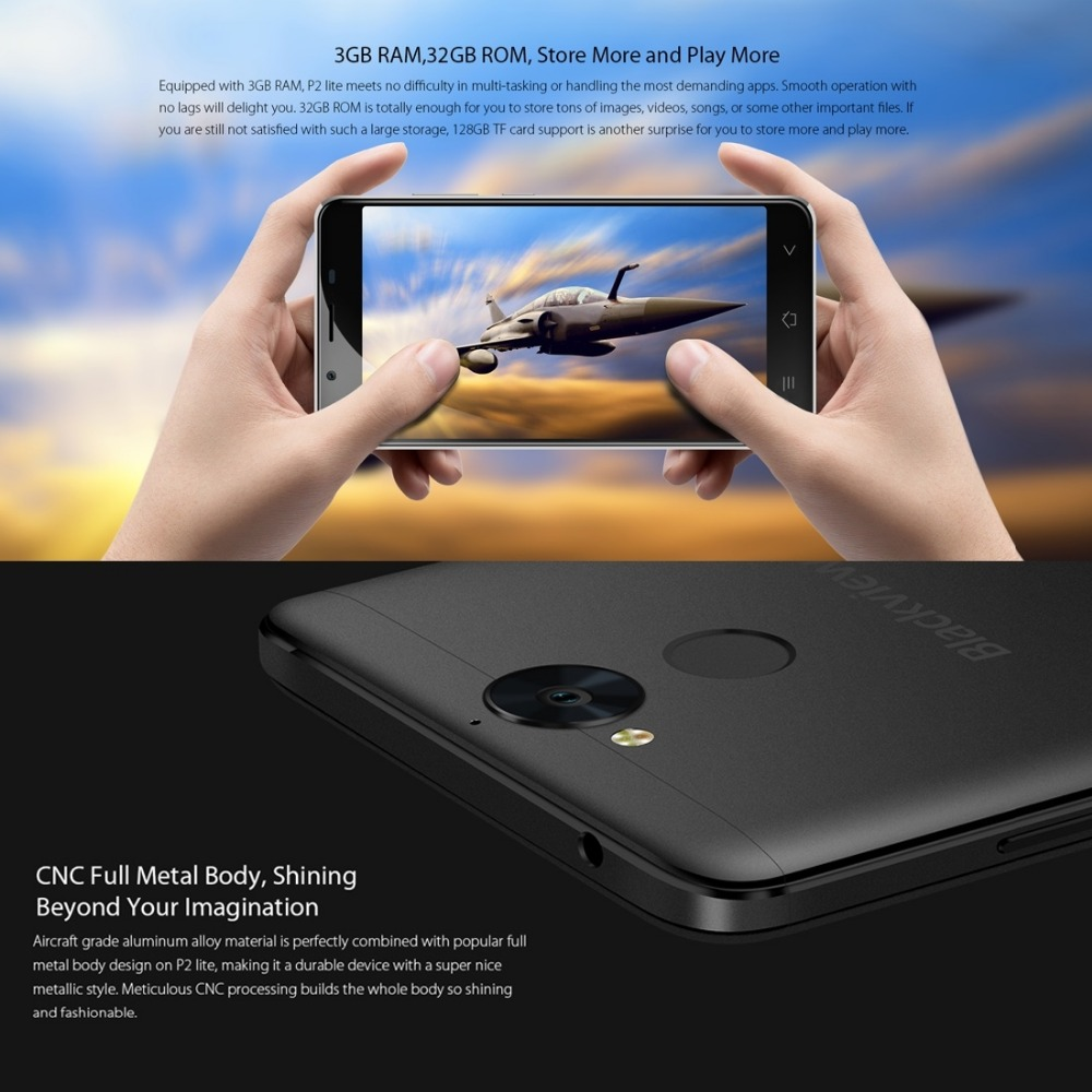 "In Stock Blackview P2 Lite Smartphone 3GB+32GB 6000mAh Fingerprint 5.5"" Android 7.0 13MP Dual SIM GPS OTG 4G LTE Mobile Phone"