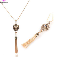 Europe United States Fashion Lion Head Sweater Chain Big Metal Pendant Tassel Long Necklace Female Tiger Necklace N-035