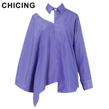 CHICING Loose Style Striped Off One Shoulder Asymmetric Hem Women Blouse 2017 One Batwing Sleeve Streetwear Casual Top B1706043