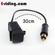 30cm Motorcycle, ATV, Boat, RV, Snowmobile - USB Weatherproof Power Socket - Dual Port USB Charger, DIN Hella or Bare Wire