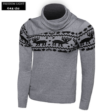 2016 Autumn And Winter Men's Fashion Sweater Slim Fit With Deer Pattern Knitted Christmas Pullover Men Scarf Collar Sweaters(China)