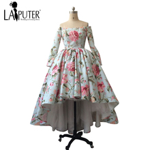 Arabic Vintage Printed Rose Flowers Ball Gown Hi-Low Puffy Long Sleeves Elegant Discount Evening Prom Dresses Party Gown(China)