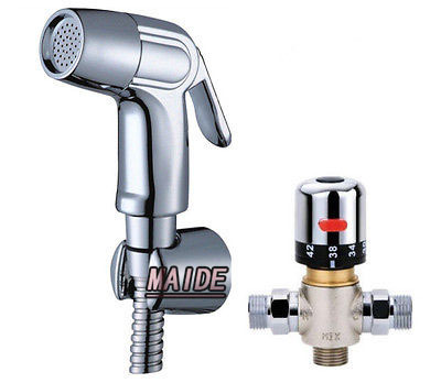 Brand New Handheld Bidet Toilet Bathroom Hot&amp;Cold water Mixing Valve Sprayer Set<br>