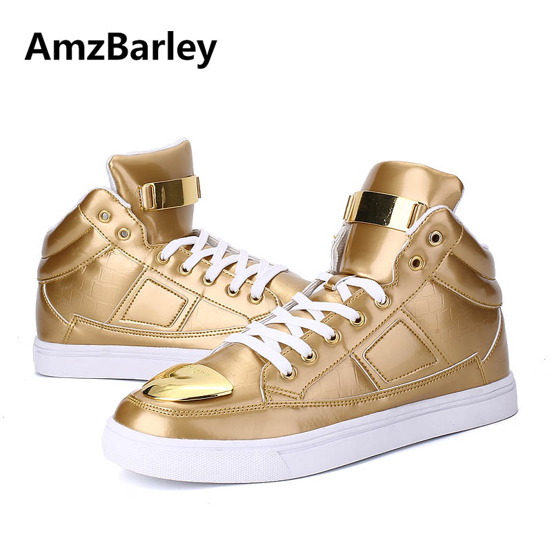 AmzBarley Men Shoes Flats High Top Casual Metalic Thick Bottoms Male Hip Hop Glossy Gold Gumshoes Zapatillas Deportivas<br>