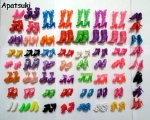60Pairs Mixed-Styles Fashion Sandals Boots Little Toy Assorted Shoes for Barbie Doll Accessories High-heel Shoes For Barbie Doll(China)