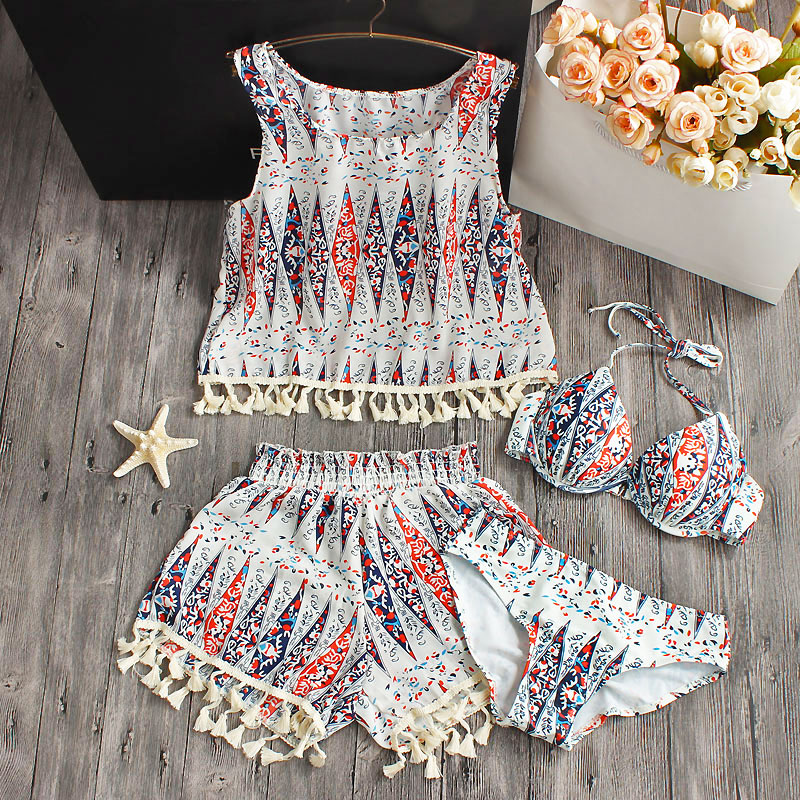 Swimwear Female Women 2017 New Hot Sexy Printed Bikini Set Women Push up Vintage Swimwear Brazilian Swimsuit Beachwear Biquini<br>