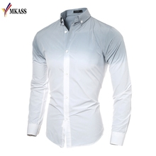 Buy 2018 Fashion Men Shirt White Gradient Slim Fit Male Social Shirt Tuxedo Shirt Mens Long Sleeve Dress Shirts New Spring for $15.29 in AliExpress store