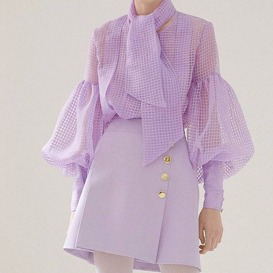 2019 Ootn Puff Long Sleeve Purple Perspective Plaid Blouse Women Bow