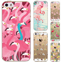 Flamingo Bird Case Cover For Apple iPhone 5 5S SE Case Luxury Crystal Rubber Silicone Transparent Mobile Phone Case