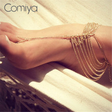 Comiya Indian Style Trendy Multi-Layers Chains Jewelry Anklets Zinc Alloy New Ankle Bracelets For Women Statement Accessories