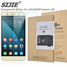 SIJIE Tempered Glass For HUAWEI honor 4X 0.26mm Screen Protector protective front 9H discount Retail Package Hard BOX 5.5 inch