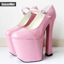 "jialuowei Black patent platform Mary Janes Pumps with chunky 7 1/2"" heel with 3 1/2"" platform high heel pumps Cosplay shoes"