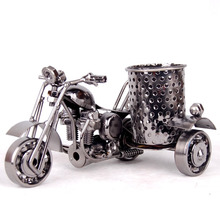 Metal Crafts Motorcycle Model Retro Motorbike Model Pencil Cup Antique Motor Bicycle Pen Container Holder Home Office Decor