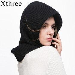 Xthree зимние шерстяные вязанные шарф и шапка набор бини женский шарф Skullies бини шапки для мужчин и женщин шапки Gorras Bonnet маска